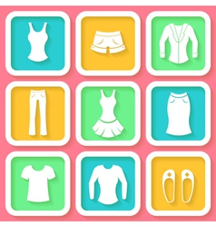 Set of 9 colorful icons of female clothing vector