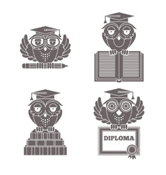 Owls in graduation caps set vector