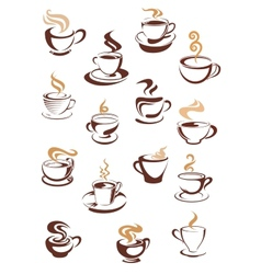 Steaming coffee cups set vector