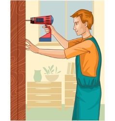 Working man with drill at home eps10 vector