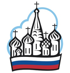 Russian cathedral in red square vector