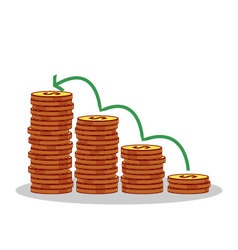 Isolated cartoon gold coin investment growth vector