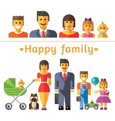Icon set happy family vector