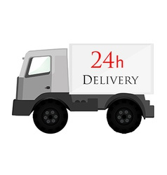 Delivery car grey with text 24h delivery vector