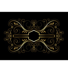 Gold geometric frame with openwork floral decor vector