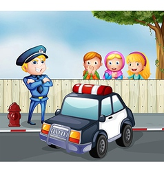 A policeman and the three girls outside the fence vector