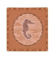 Seahorse fish woodcut button vintage vector