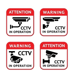 Video surveillance signs set vector
