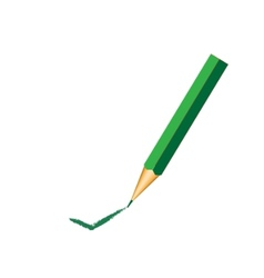 Green pencil with ok sign vector