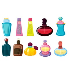 Bottles of perfume vector