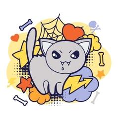 Halloween kawaii print or card with cute doodle vector