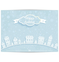 Happy holiday card with white paper town vector