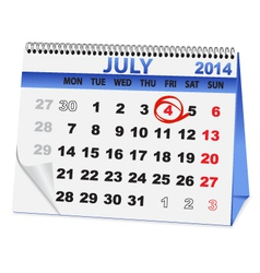 Icon calendar for july 4 vector