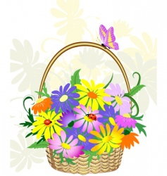 Basket of flowers vector