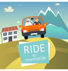 Ride to countryside vector
