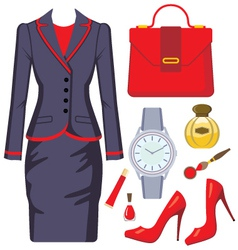 Fashion set from a female suit vector