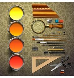 Group art supplies vector