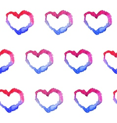 Watercolor gradient hearts seamless pattern vector