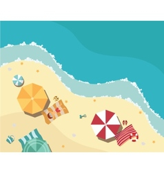 Summer beach in flat design aerial view sea side vector