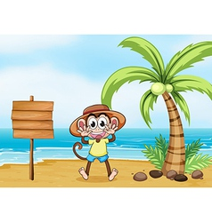 A monkey at the beach and the empty board vector