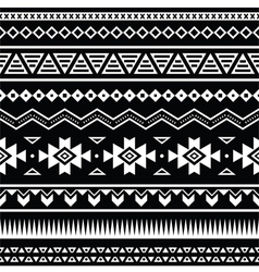 Aztec seamless pattern tribal black and white vector