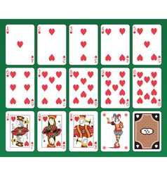 Hearts playing cards set vector