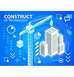 Bright construct crine and buildings on blue vector