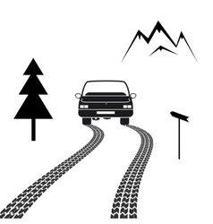 Car driving on a mountain road with tire tracks vector