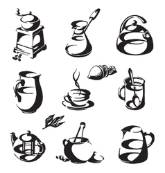 Coffee and tea logo design template cup or vector