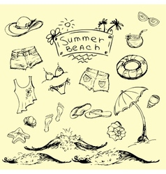 Set of summer travel and vacation emblems vector