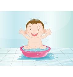 Baby in the bathroom vector