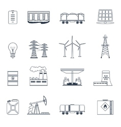 Energy icons outline set vector