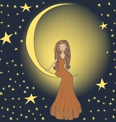 Girl on the moon vector