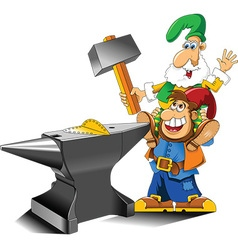 Cartoon gnome with anvil vector