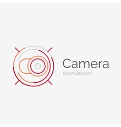 Thin line neat design logo camera concept vector