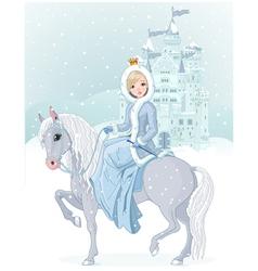 Princess riding horse vector