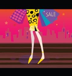 Long legs woman is shopping vector