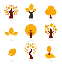 Autumn trees icons isolated on white - orange vector