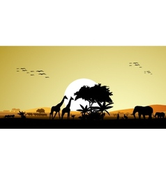 Beauty silhouette of safari animal vector