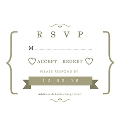 Rsvp wedding card gold ribbon theme vector