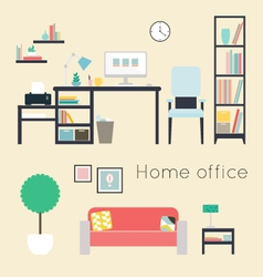 Home office furniture and accessories vector