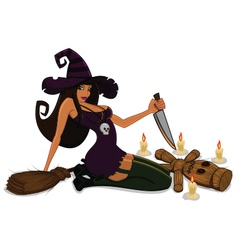 Witch with voodoo doll vector