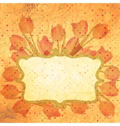 Bouquet of red tulips and a polka dot card eps 10 vector