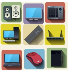 Home computer equipment set icons vector