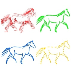 Set colors horses outlines collection vector