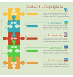Infographics report templates in a line puzzle vector