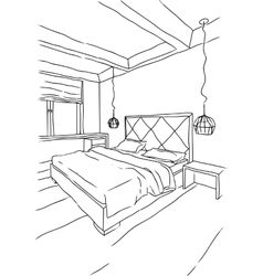 Luxury bedroom interior vector