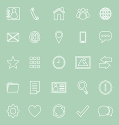 Contact line icons on green background vector