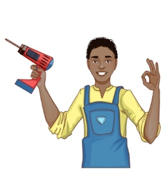 Young handsome african american man with drill vector