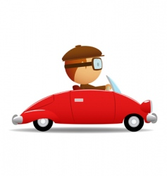 Driver in the red car vector